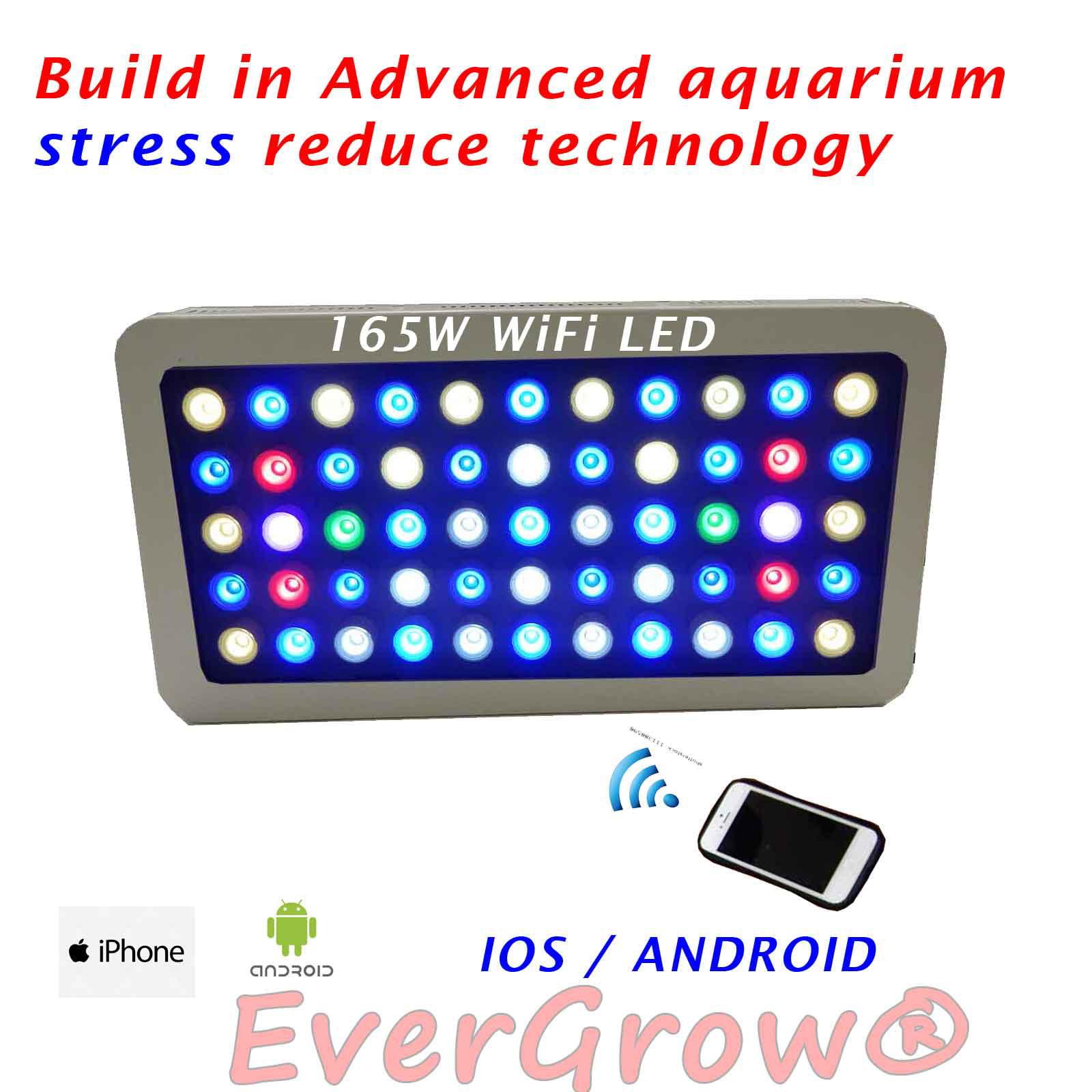 EVERGROW® 165W WIFI Full Spectrum Grow Fish Tank Reef Coral LED Aquarium Light iphone (LED-FT-165W-WHITE-WIFI)