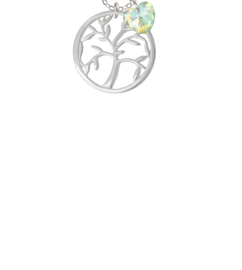 """Tree of Life in Circle  - Clear AB Crystal Heart Sophia Necklace, 18""""+1"""""""