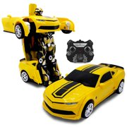 Kids RC Toy Car Transforming Robot One Button Transformation Engine Sound Dance Mode 360° Spinning Speed Drifting 2 Band 2.4 GHz Remote Control Vehicle Toys for Boys Yellow Sports Car