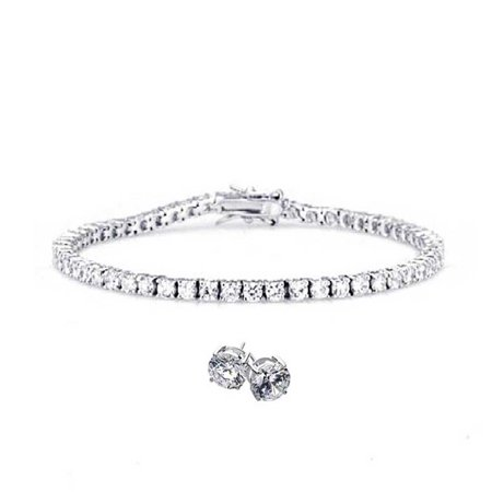 Classic Round Tennis Posts (Classic Round Solitaire Cubic Zirconia AAA CZ Thin Prong Set Tennis Bracelet Earrings Set For Women 925 Sterling Silver )