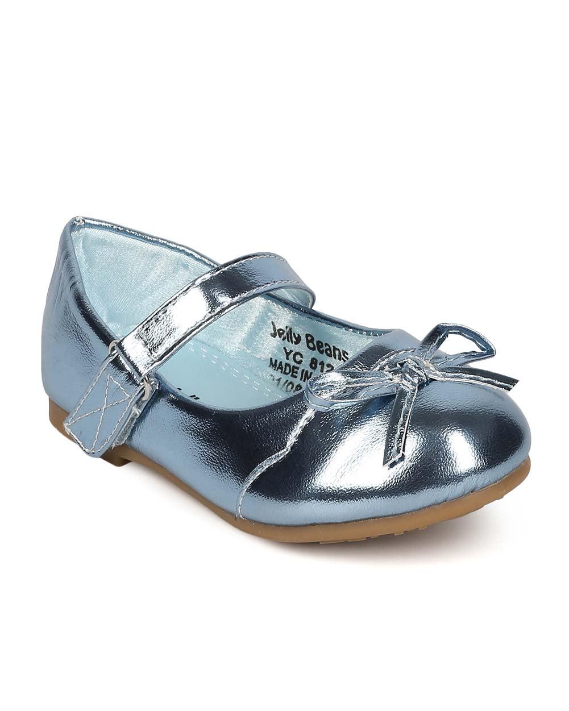Alrisco EI41 Girl Metallic Leatherette Capped Toe Bow Tie Mary Jane ...