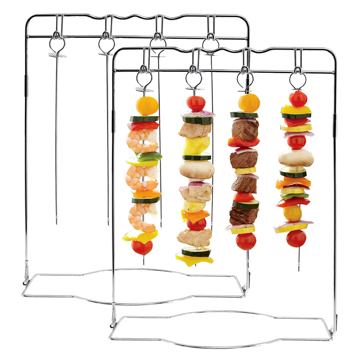 2 Mr. Bar-B-Q Hanging Shish Kabob Skewers Sets Grilling Stand Kebab Barbecue BBQ