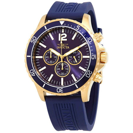 24392 Men's Pro Diver Chronograph Navy Blue Polyurethane And Dial Watch (Chronograph Solar Watch Blue Dial)