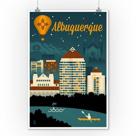 Mexican Art Artists - Albuquerque, New Mexico - Retro Skyline - Lantern Press Artwork (9x12 Art Print, Wall Decor Travel Poster)