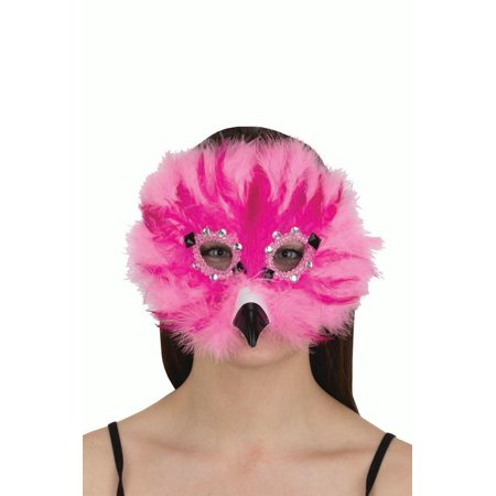 Womens Feathery Pink Flamingo Gems Masquerade Bird Animal Halloween Costume Mask - Animal Skull Halloween Mask