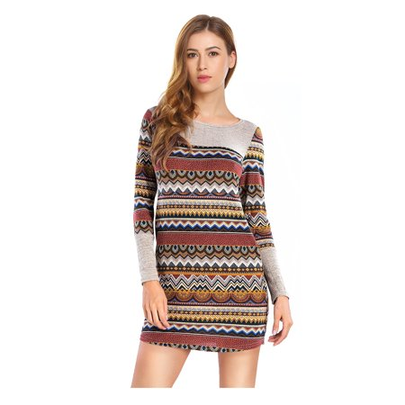 16cfe76a88f Womens Long Sleeve Striped Pullover Knit Sweater Dress - image 3 of 3 ...