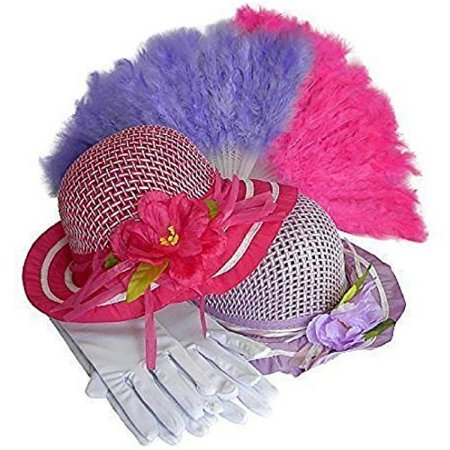 Girls Tea Party Dress Up Play Set For 2 with Sun Hats Gloves and Fans Olivia by Cutie Collections](Tea Party Hats And Gloves)