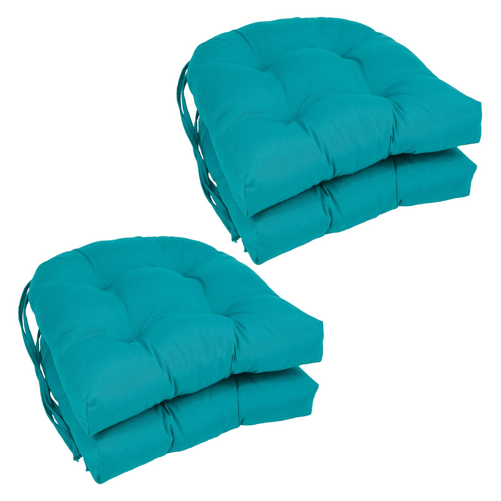 Blazing Needles U-Shape 16 x 16 in. Twill Dining Chair Cushions - Set of 4