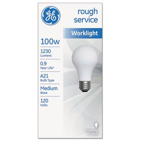 General Electric 18275 100 W Rough Service Incandescent Worklight A21 Bulb, 1230 lm. (100 Rough)