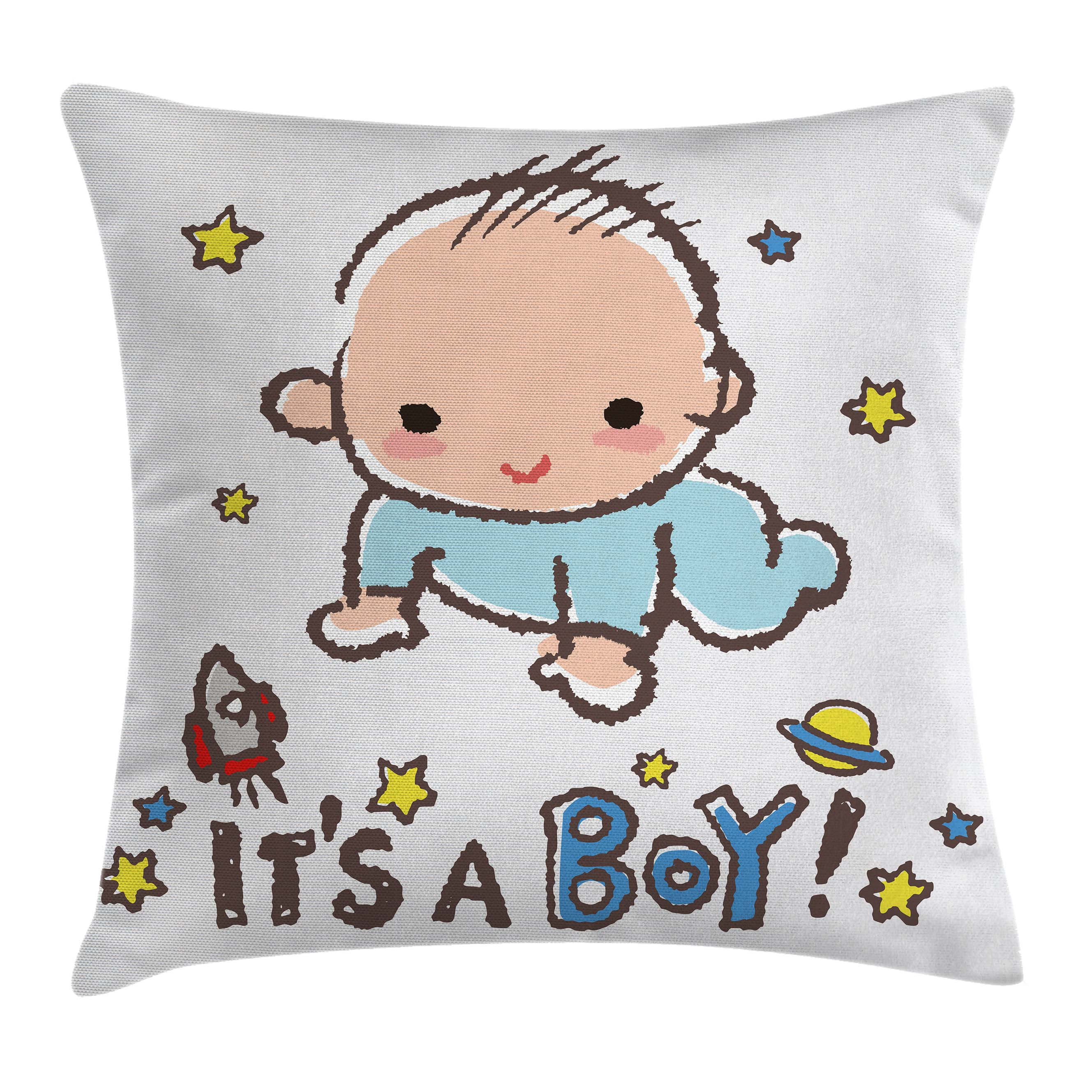 Gender Reveal Decorations Throw Pillow Cushion Cover, Little Baby Boy Smiling with Stars Rocket Space Kid Artsy Cartoon, Decorative Square Accent Pillow Case, 16 X 16 Inches, Multicolor, by Ambesonne