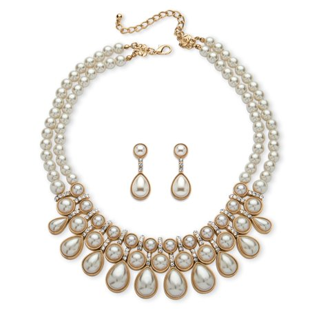 Cabochon Bead Necklace Earrings (Round and Pear-Cut Simulated Pearl Cabochon 2-Piece Necklace and Earrings Set in Gold)
