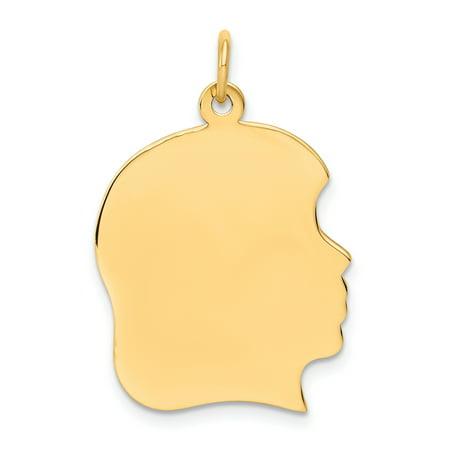 14K Rose Gold Plain Large .011 Gauge Facing Right Engraveable Girl Head Cha - image 2 de 3