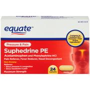 Equate Pressure & Pain Suphedrine PE Caplets, 5 mg, 24 Ct