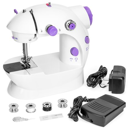 Best Choice Products Portable Speed Adjustable Mini Sewing Machine with Two-Line Design, Pedal & Push Button Switch, White (White 1418 Sewing Machine)