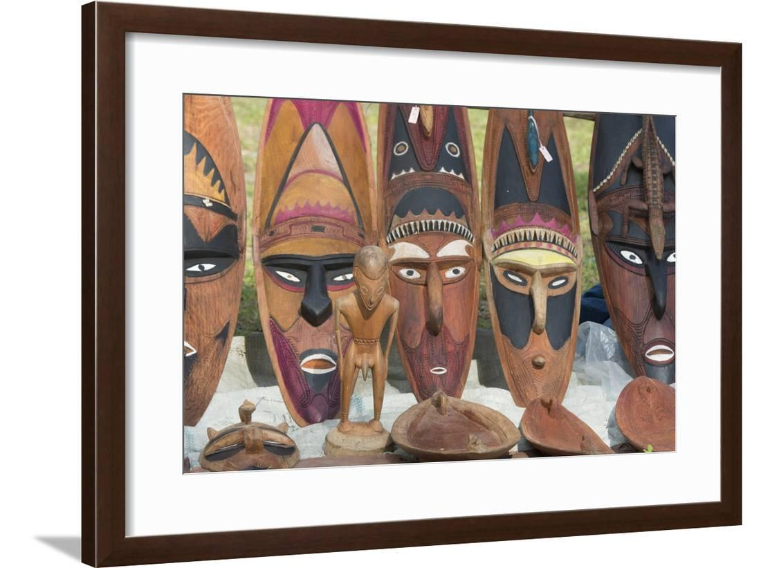 Papua New Guinea Murik Lakes Karau Village Carved Wooden Masks Framed Print Wall Art By Cindy Miller Hopkins