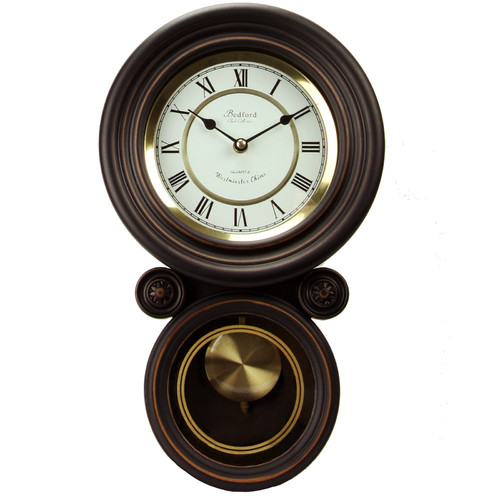 Bedford Clock Collection Contemporary Round Wall Clock with Pendulum by Bedford Clock Collection