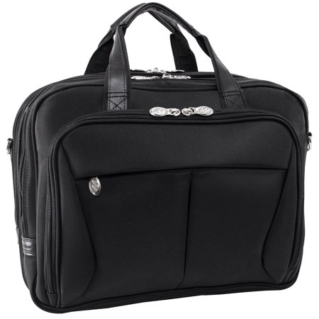 Victorinox Nylon Briefcase - McKlein PEARSON, Expandable Double Compartment Laptop Briefcase, Tech-Lite Ballistic Nylon, Black (74565)