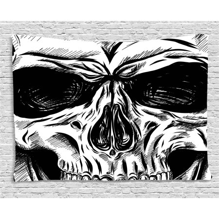Halloween Tapestry (Halloween Tapestry, Gothic Dead Skull Face Close Up Sketch Evil Anatomy Skeleton Illustration, Wall Hanging for Bedroom Living Room Dorm Decor, 60W X 40L Inches, Dark Grey White, by)