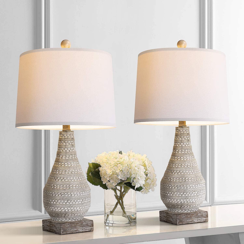 Bobomomo Retro 24 8 Table Lamp Set Of 2 For Bedroom Living Room Traditional Nightstand Lamps With White Fabric Shade Walmart Com Walmart Com