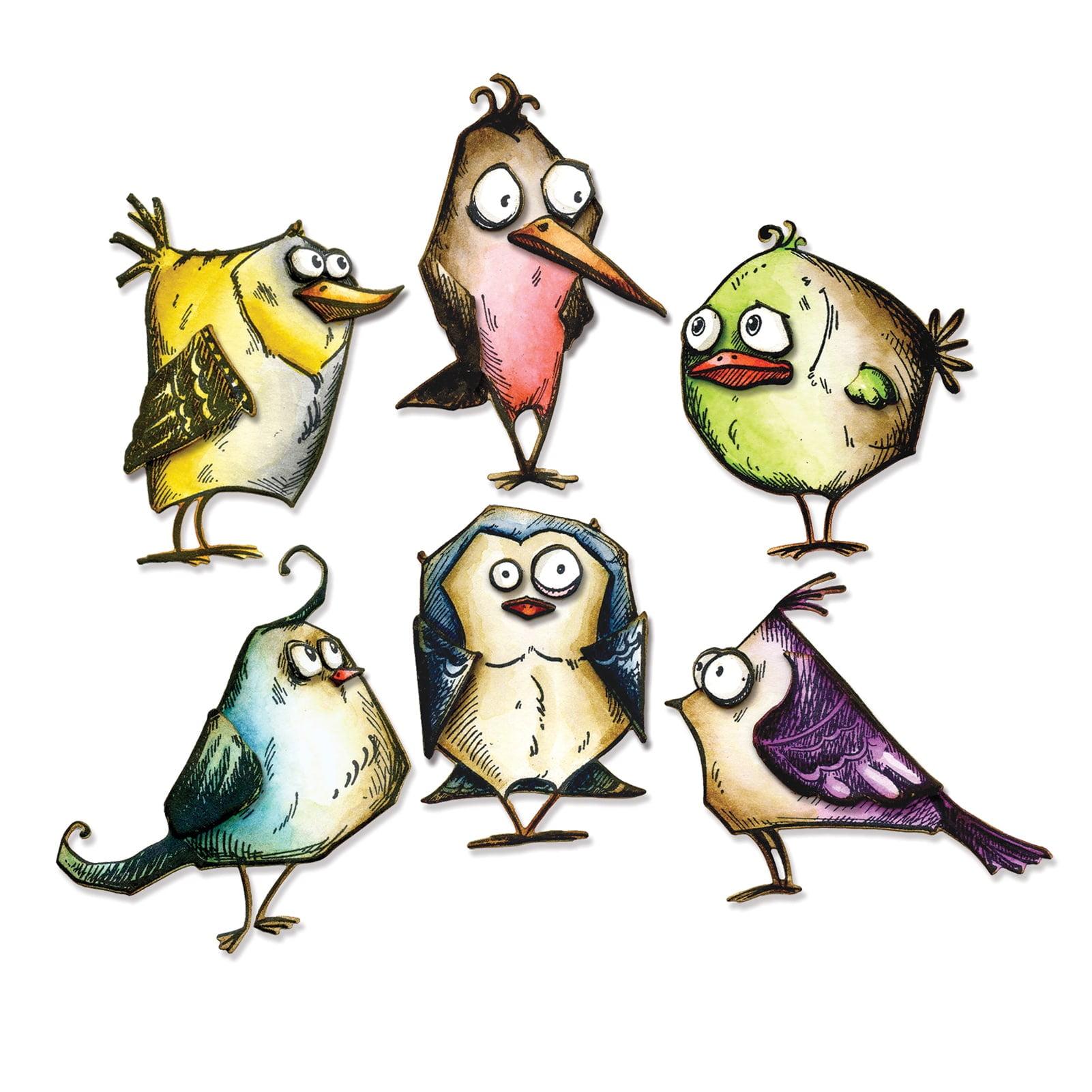 NEW 13 pieces BIRD TALK SIZZIX TIM HOLTZ Framelits w// Stamps