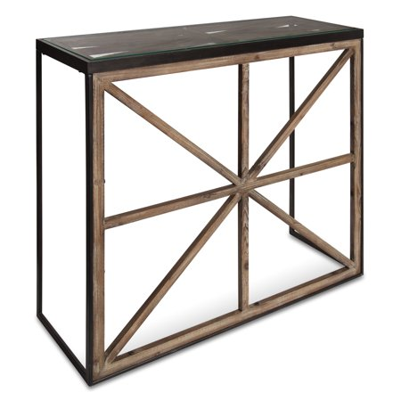Kate and Laurel - Mace Modern Farmhouse Console Table with Glass Top, Black Metal Frame and Rustic Brown Wood Criss-Cross Barn Door