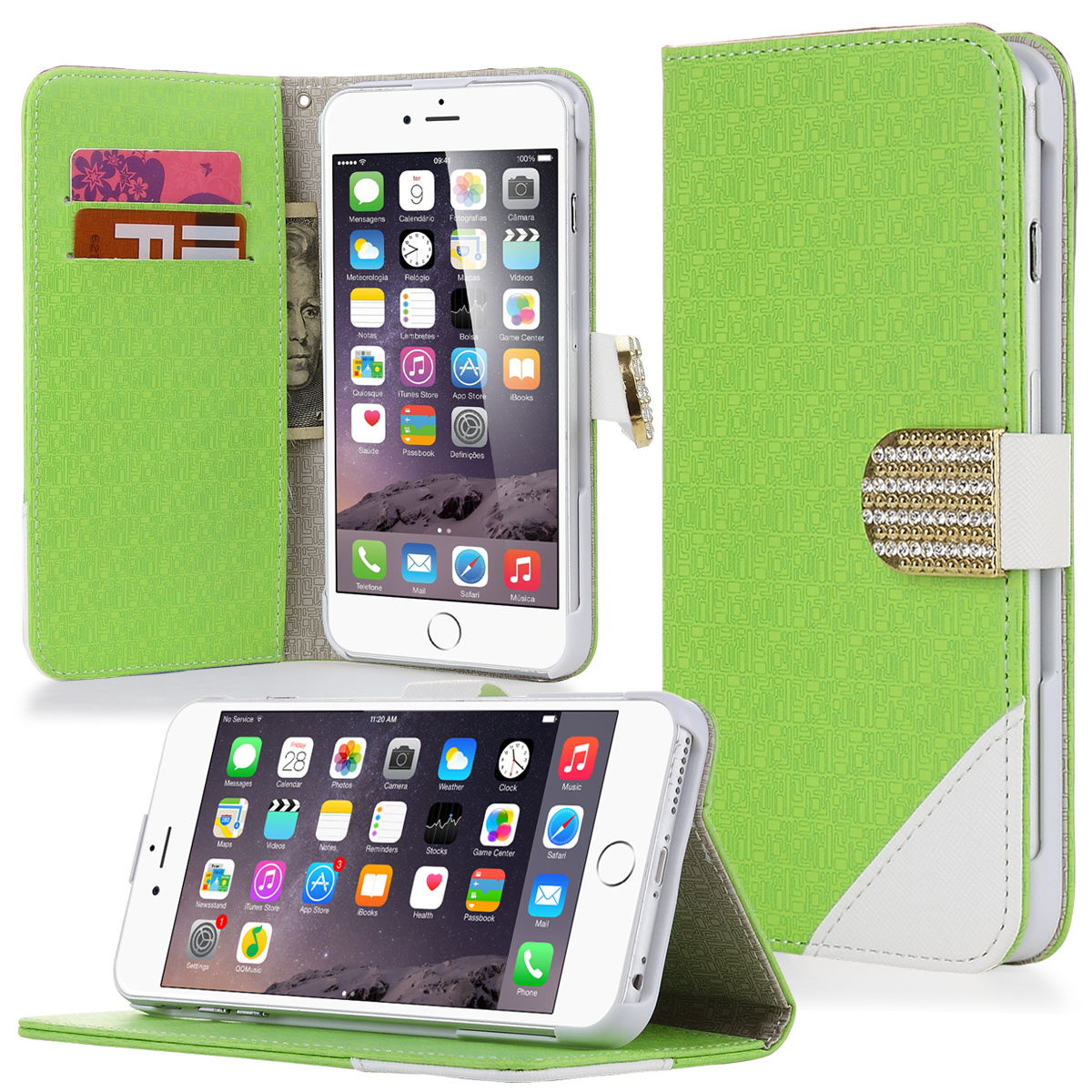 ULAK [Stand Feature] Premium Synthetic Leather Wallet Case STAND Flip Cover for iPhone 6 Plus (5.5 inch) (Green)