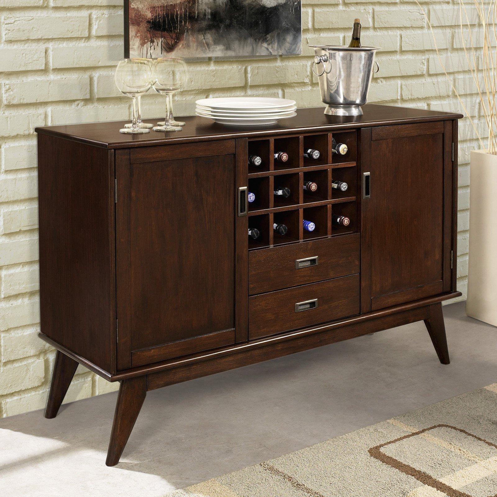 Simpli Home Draper Mid Century Sideboard Buffet Winerack