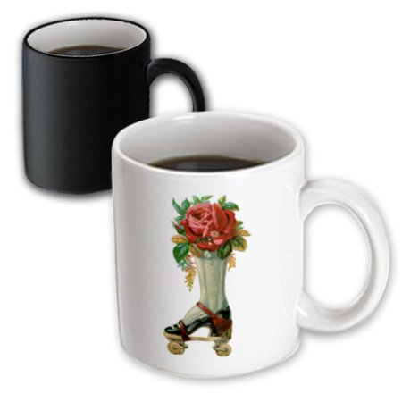 3dRose Vintage Victorian Steampunk Roller Skate Boot with Red Rose Bouquet, Magic Transforming Mug, 11oz