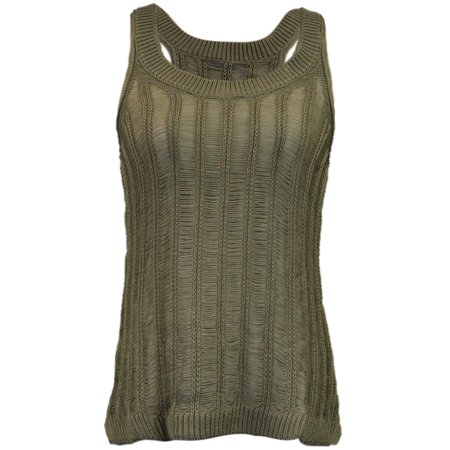 Honey Punch Racerback Sleeveless Sheer Scoop Neckline Knit Tank With Side Tails