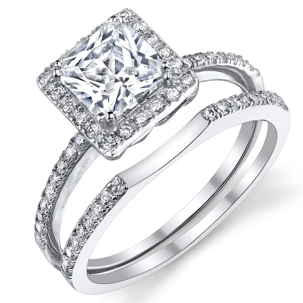 Beautiful 1.25 Carat Princess Cut Micro Pave Sterling Silver Wedding Engagement Ring Band Set W/ Cubic Zirconia