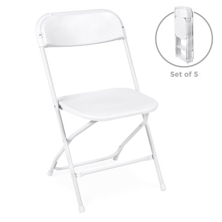 Best Choice Products Set of 5 Indoor Outdoor Portable Stackable Lightweight Plastic Folding Chairs for Events, Parties - White ()