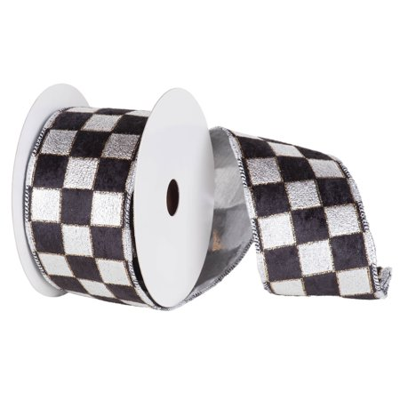 Silver And Black Checkered Lame Wired Christmas Craft Ribbon 4 X