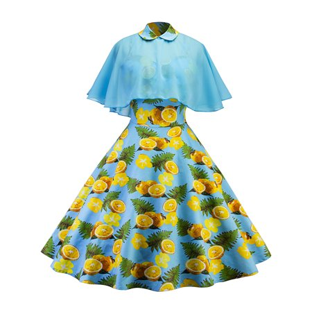 Retro Fashion Women (Vintage Swing Dress Women Retro Pinup Casual Housewife Party Ball Fashion Strap Dresses with Doll Collar Cloak Shawl)
