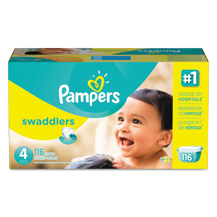 Pampers Swaddlers Diapers, Size 4: 22 - 37 lbs, 116/Carton - PGC86374CT