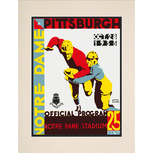 NCAA - 1933 Notre Dame Fighting Irish vs. Pittsburgh Panthers 10 1/2 x 14 Matted Historic Football Poster