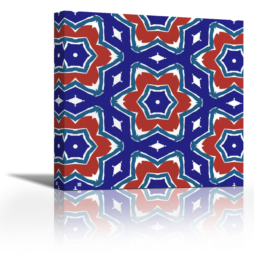Red White And Blue Flowers Contemporary Fine Art Giclee On Canvas