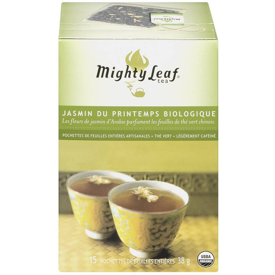 Mighty Leaf Tea Organic Spring Jasmine Green Tea Artisan Whole Leaf Pouches, 15 count, 1.34 oz, (Pack of 3)