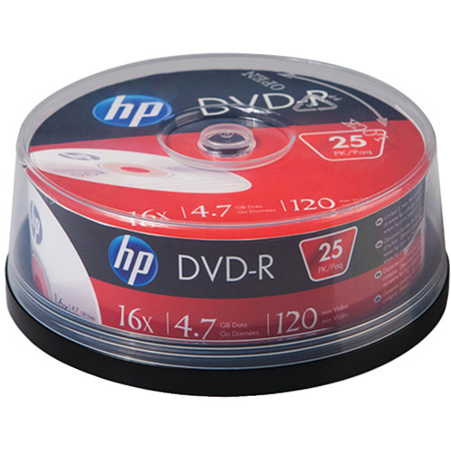 HP DM16025CB 4.7GB 16x DVD-Rs, 25-Count Cake Box Spindle