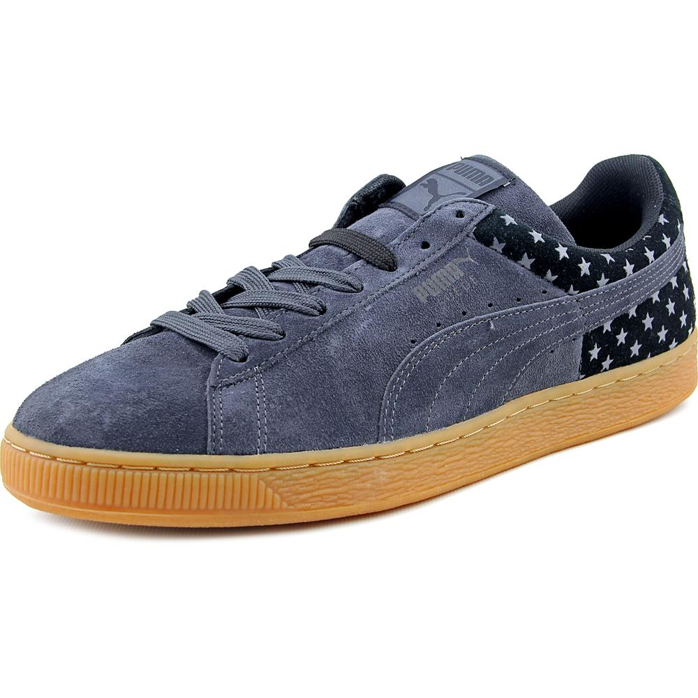 Puma Suede Stars Men  Round Toe Suede Gray Sneakers