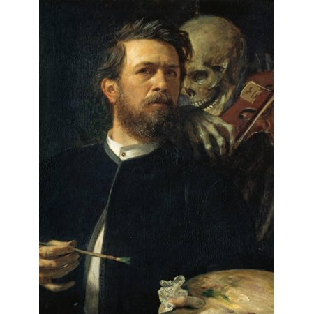 Self-Portrait with Death Playing the Fiddle, 1872 Painting of Man and Skeleton Print Wall Art By Arnold