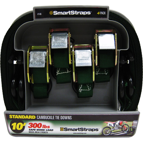 SmartStraps 10' 900 lbs. Cambuckle, Green 4 Pack
