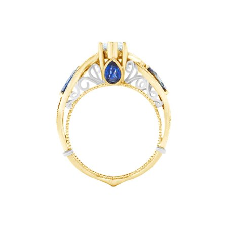 Simulated Blue Sapphire & White CZ Two Tone Engagement Ring In 14k Yellow Gold Over Sterling Silver Ring Size-4
