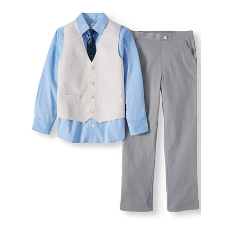 Boys' Dressy Vest Set With Contrast Cuff Shirt, Slub Vest, Skinny Tie and Twill Pants, 4-Piece Outfit Set - Striper Outfits