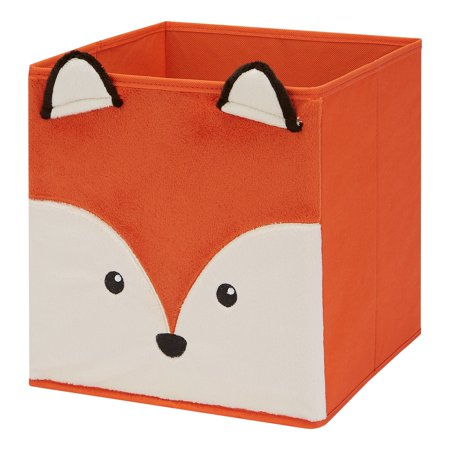 "Mainstays Kids Collapsible Storage Fabric Bin, Fox, Orange, 10.5"" x 10.5"" x 11"""