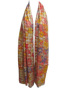 Indian Woven Open Weave Floral Lightweight Cottony Long Scarf Shawl JK318