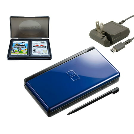 Refurbished Nintendo DS Lite Cobalt / Black with Super Mario Bros and Mario Kart