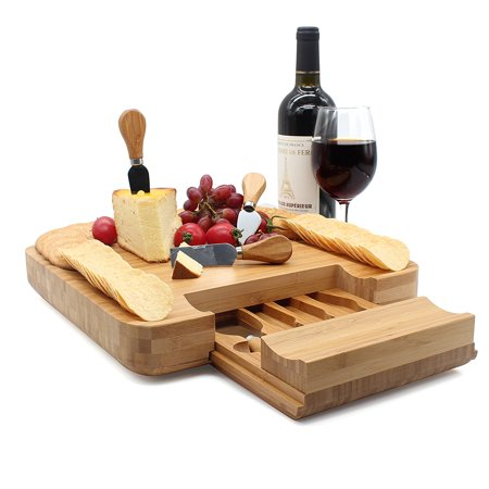 Bamboo Cheese Board Set with Integrated Drawer and 4 Specialist Cheese Knives, 13
