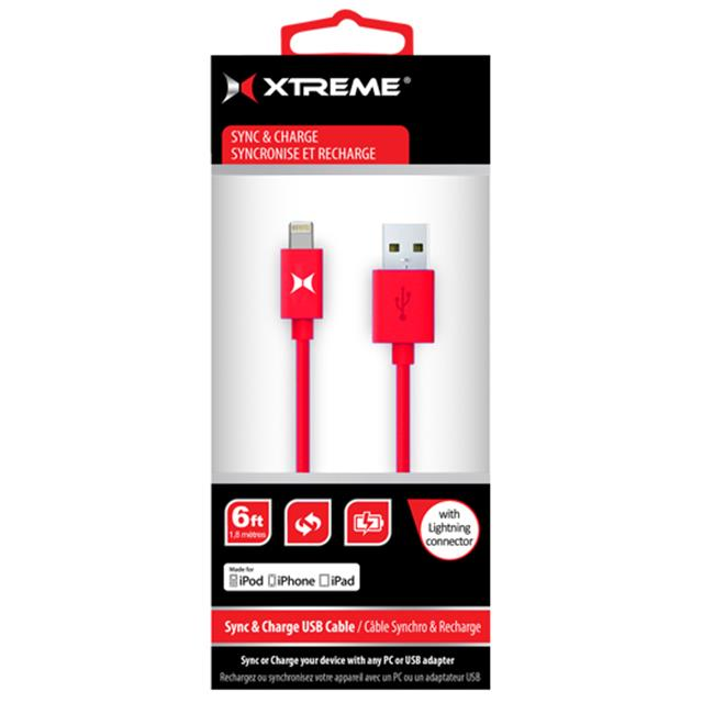 Xtreme Cables 59884 MFI Lightning Cable, 6 ft.  - Red