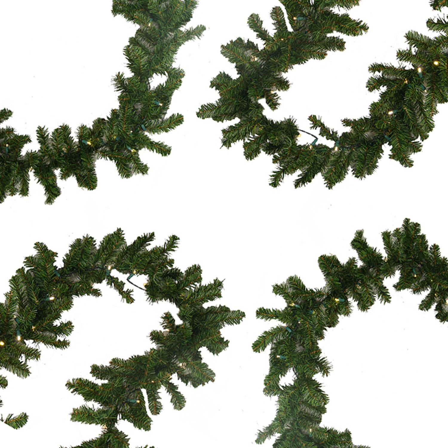 "9' x 10"" Pre-Lit Battery Operated Pine Christmas Garland - Warm Clear LED Lights"
