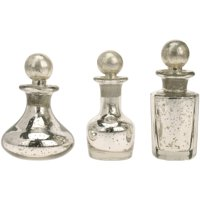 Set of 3 Antique Silver Mercury Glass Decorative Bottles with Stoppers